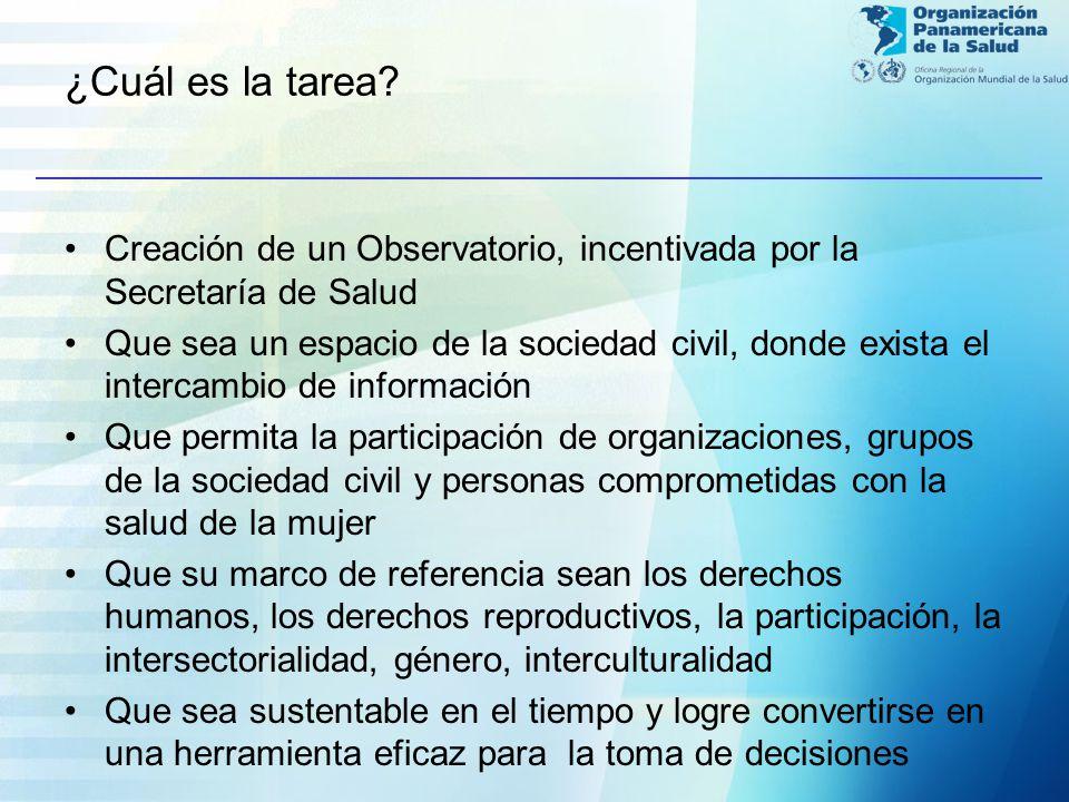 ¿Cuál es la tarea? Creación de un Observatorio, incentivada por la Secretaría de Salud Que sea un espacio de la sociedad civil, donde exista el interc