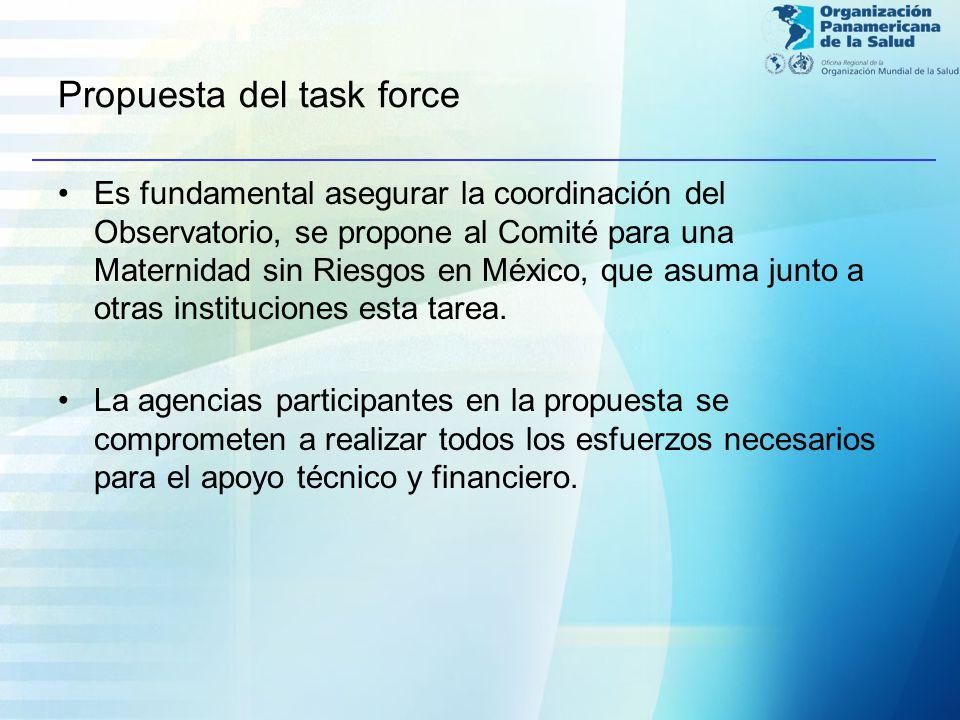 Propuesta del task force Es fundamental asegurar la coordinación del Observatorio, se propone al Comité para una Maternidad sin Riesgos en México, que asuma junto a otras instituciones esta tarea.