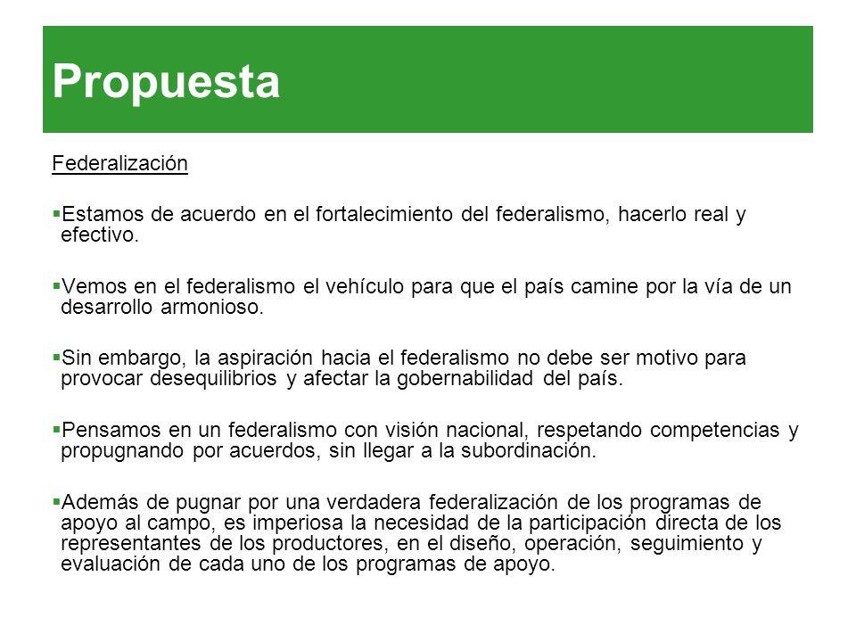 Propuesta Federalización Estamos de acuerdo en el fortalecimiento del federalismo, hacerlo real y efectivo. Vemos en el federalismo el vehículo para q