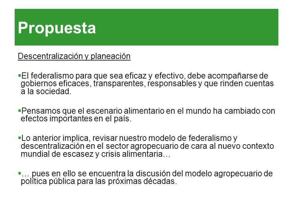 Propuesta Descentralización y planeación El federalismo para que sea eficaz y efectivo, debe acompañarse de gobiernos eficaces, transparentes, respons