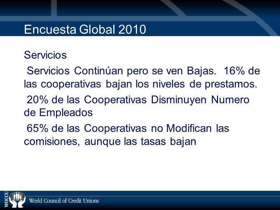 Encuesta Global 2010 Servicios Servicios Continúan pero se ven Bajas.