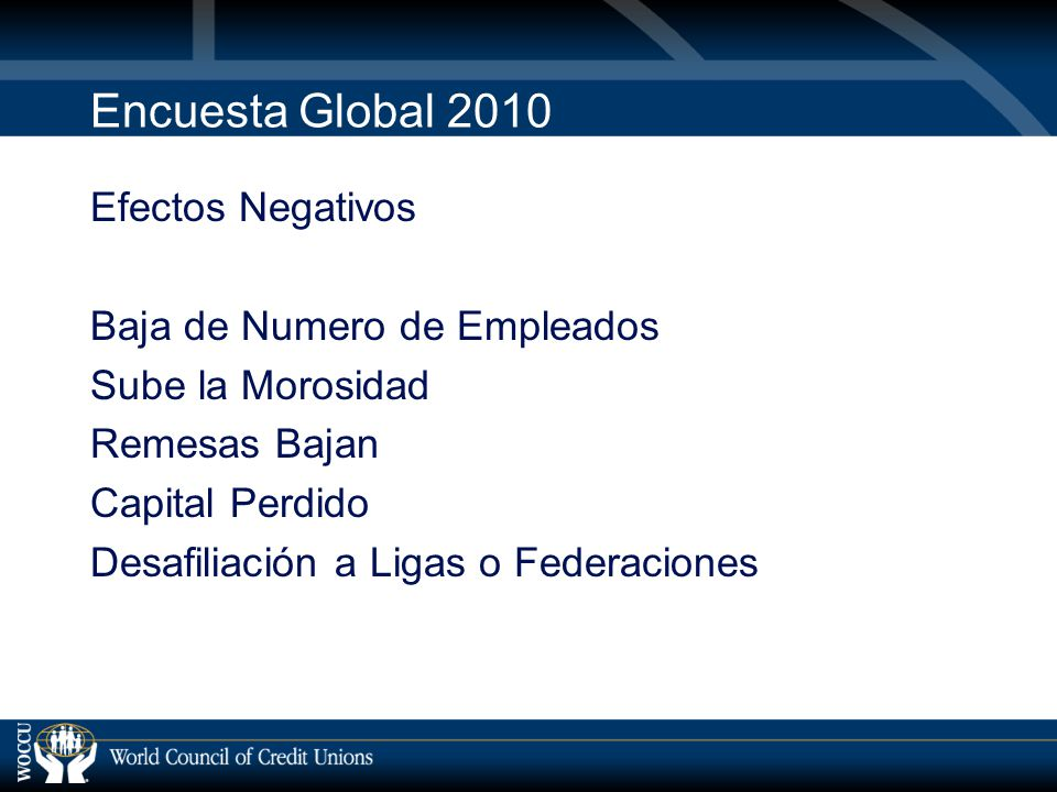 Encuesta Global 2010 Efectos Negativos Baja de Numero de Empleados Sube la Morosidad Remesas Bajan Capital Perdido Desafiliación a Ligas o Federaciones