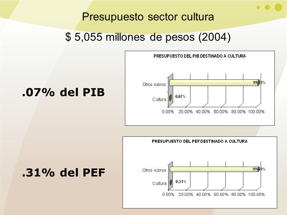 .07% del PIB.31% del PEF Presupuesto sector cultura $ 5,055 millones de pesos (2004)