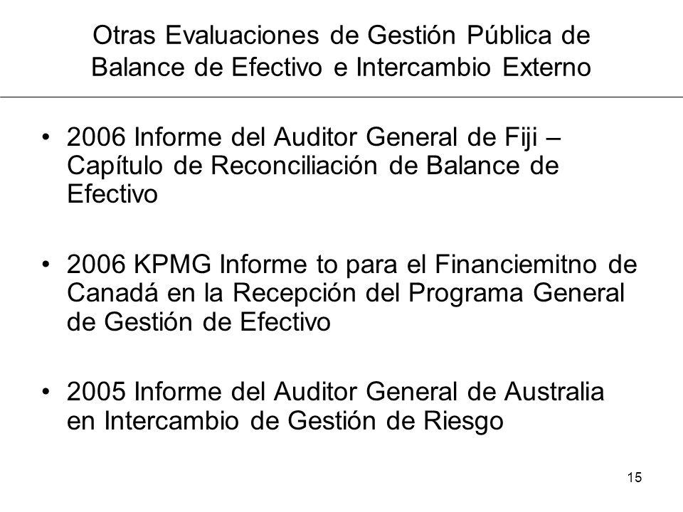 15 Otras Evaluaciones de Gestión Pública de Balance de Efectivo e Intercambio Externo 2006 Informe del Auditor General de Fiji – Capítulo de Reconciliación de Balance de Efectivo 2006 KPMG Informe to para el Financiemitno de Canadá en la Recepción del Programa General de Gestión de Efectivo 2005 Informe del Auditor General de Australia en Intercambio de Gestión de Riesgo