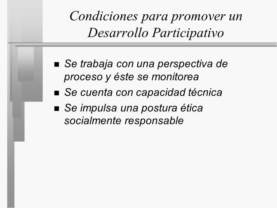 Condiciones para promover un Desarrollo Participativo n Se trabaja con una perspectiva de proceso y éste se monitorea n Se cuenta con capacidad técnica n Se impulsa una postura ética socialmente responsable