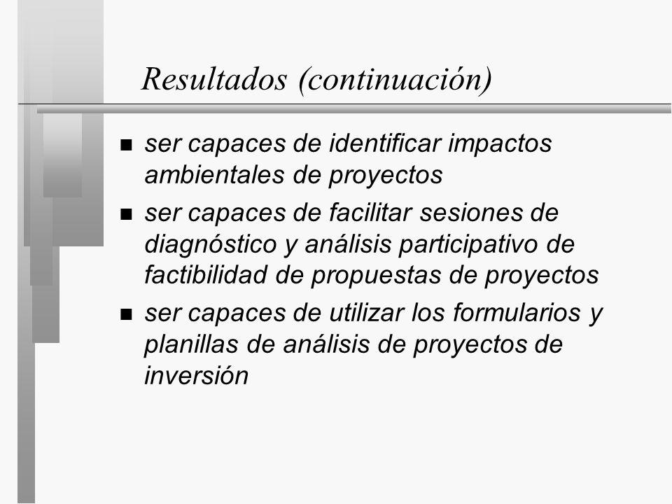 Resultados (continuación) n ser capaces de identificar impactos ambientales de proyectos n ser capaces de facilitar sesiones de diagnóstico y análisis participativo de factibilidad de propuestas de proyectos n ser capaces de utilizar los formularios y planillas de análisis de proyectos de inversión
