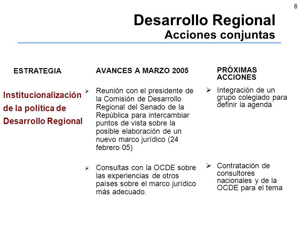 6 Desarrollo Regional Acciones conjuntas AVANCES A MARZO 2005 Reunión con el presidente de la Comisión de Desarrollo Regional del Senado de la República para intercambiar puntos de vista sobre la posible elaboración de un nuevo marco jurídico (24 febrero 05) Consultas con la OCDE sobre las experiencias de otros países sobre el marco jurídico más adecuado.