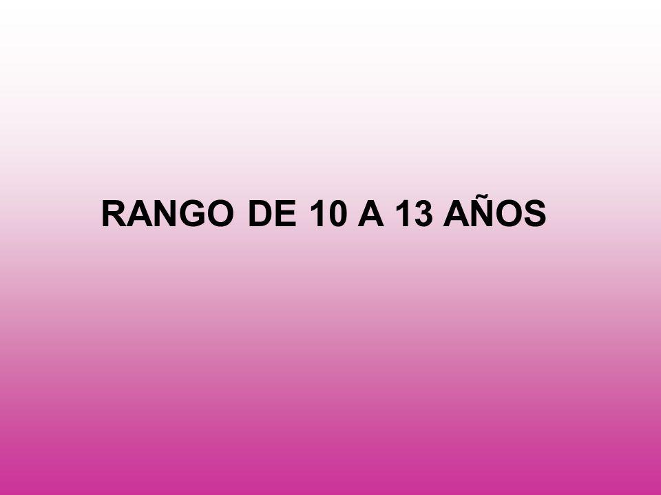 RANGO DE 10 A 13 AÑOS