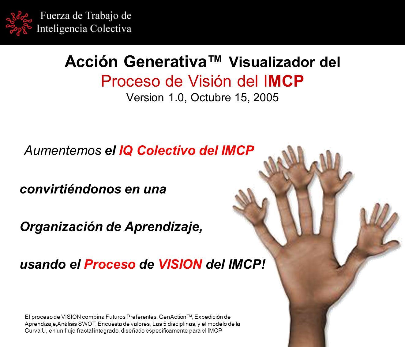 Acción Generativa Visualizador del Proceso de Visión del IMCP Version 1.0, Octubre 15, 2005 Aumentemos el IQ Colectivo del IMCP convirtiéndonos en una Organización de Aprendizaje, usando el Proceso de VISION del IMCP.