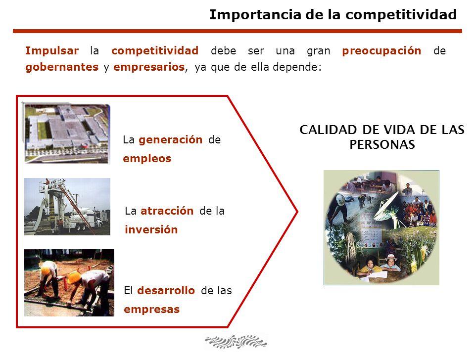 Importancia de la competitividad Impulsar la competitividad debe ser una gran preocupación de gobernantes y empresarios, ya que de ella depende: CALID