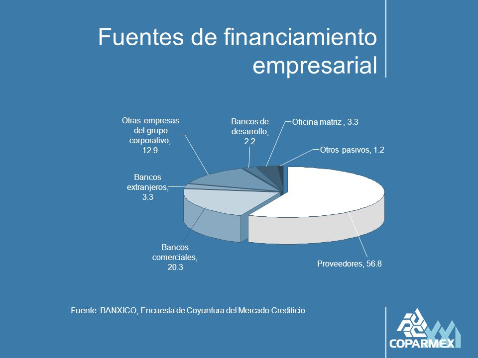 Las fuentes de financiamiento del empresario mexicano Fuente: BANXICO, Encuesta de Coyuntura del Mercado Crediticio 47.3 46.8 53.8 52.3 55.9 56.8 24.6 24.8 22.4 21.4 20.3 0 10 20 30 40 50 60 199819992000200120022003 ProveedoresBancos comerciales