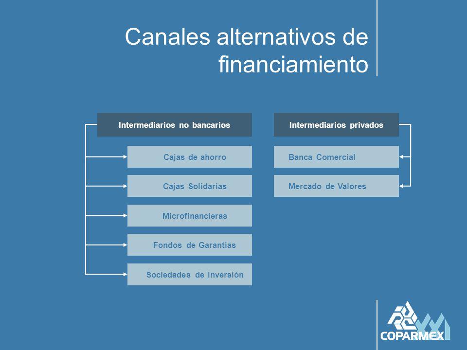 Canales alternativos de financiamiento Cajas de ahorro Cajas Solidarias Microfinancieras Sociedades de Inversión Fondos de Garantías Mercado de Valores Banca Comercial Intermediarios no bancariosIntermediarios privados