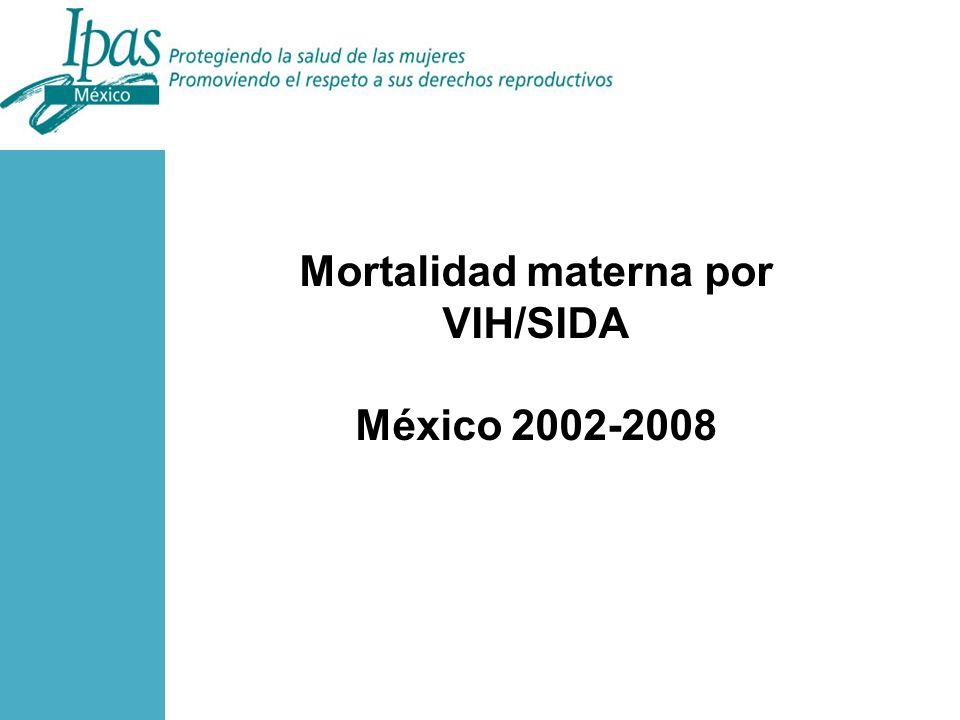 Mortalidad materna por VIH/SIDA México 2002-2008