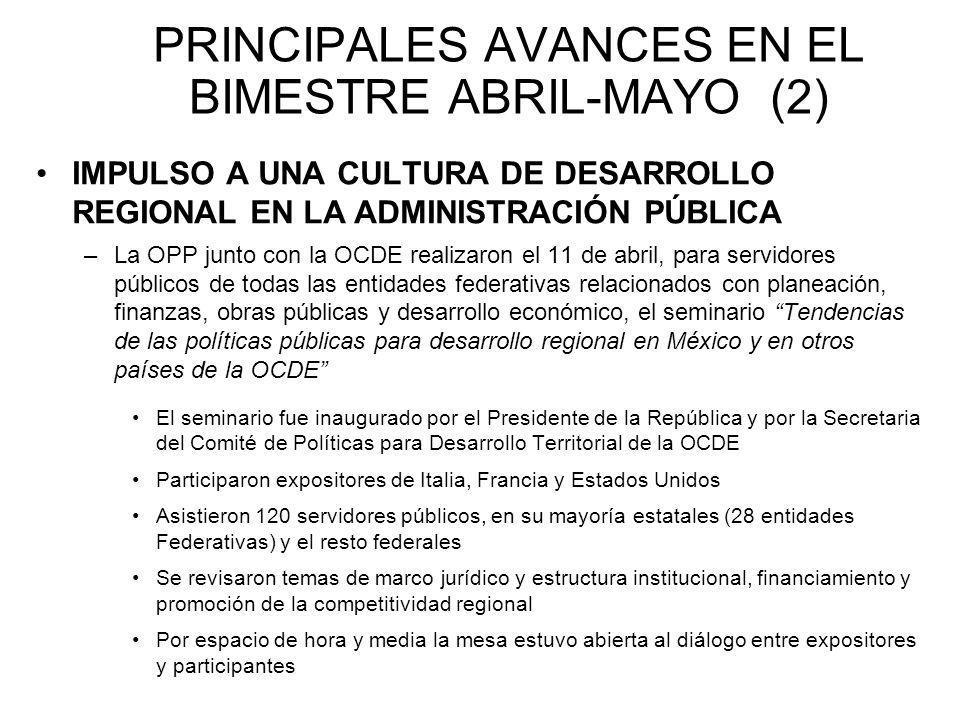 PRINCIPALES AVANCES EN EL BIMESTRE ABRIL-MAYO (2) IMPULSO A UNA CULTURA DE DESARROLLO REGIONAL EN LA ADMINISTRACIÓN PÚBLICA –La OPP junto con la OCDE realizaron el 11 de abril, para servidores públicos de todas las entidades federativas relacionados con planeación, finanzas, obras públicas y desarrollo económico, el seminario Tendencias de las políticas públicas para desarrollo regional en México y en otros países de la OCDE El seminario fue inaugurado por el Presidente de la República y por la Secretaria del Comité de Políticas para Desarrollo Territorial de la OCDE Participaron expositores de Italia, Francia y Estados Unidos Asistieron 120 servidores públicos, en su mayoría estatales (28 entidades Federativas) y el resto federales Se revisaron temas de marco jurídico y estructura institucional, financiamiento y promoción de la competitividad regional Por espacio de hora y media la mesa estuvo abierta al diálogo entre expositores y participantes