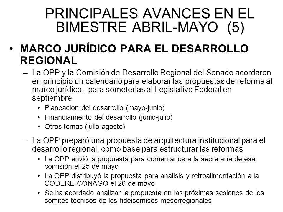 PRINCIPALES AVANCES EN EL BIMESTRE ABRIL-MAYO (5) MARCO JURÍDICO PARA EL DESARROLLO REGIONAL –La OPP y la Comisión de Desarrollo Regional del Senado a