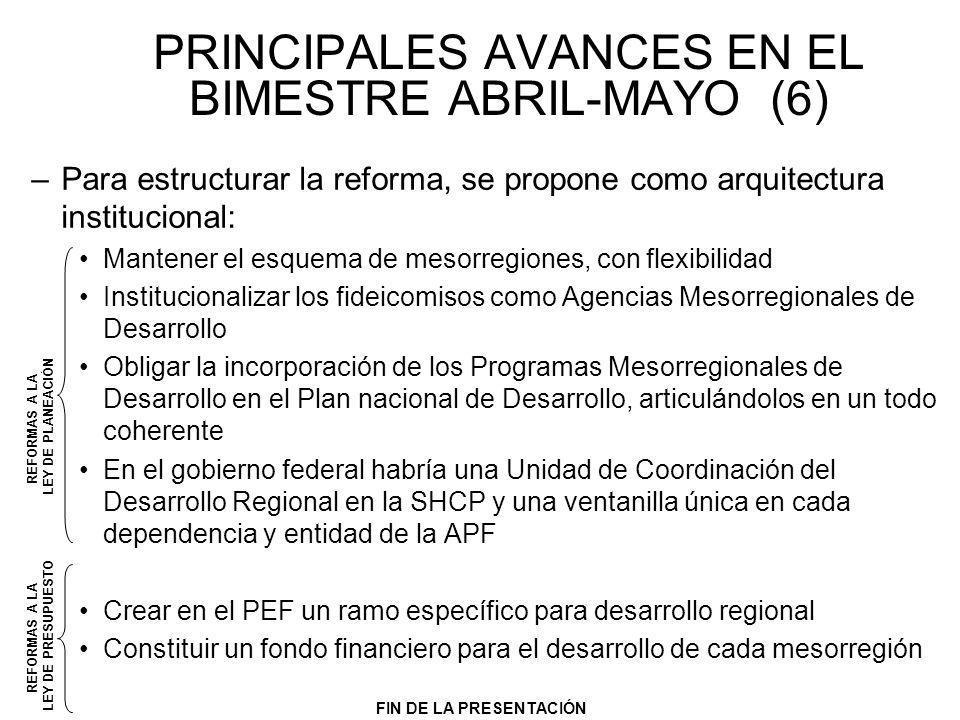 PRINCIPALES AVANCES EN EL BIMESTRE ABRIL-MAYO (6) –Para estructurar la reforma, se propone como arquitectura institucional: Mantener el esquema de mes