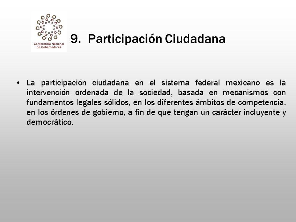 9. Participación Ciudadana La participación ciudadana en el sistema federal mexicano es la intervención ordenada de la sociedad, basada en mecanismos