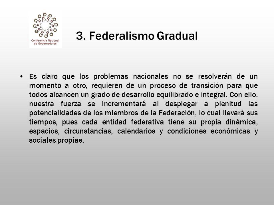 3. Federalismo Gradual Es claro que los problemas nacionales no se resolverán de un momento a otro, requieren de un proceso de transición para que tod