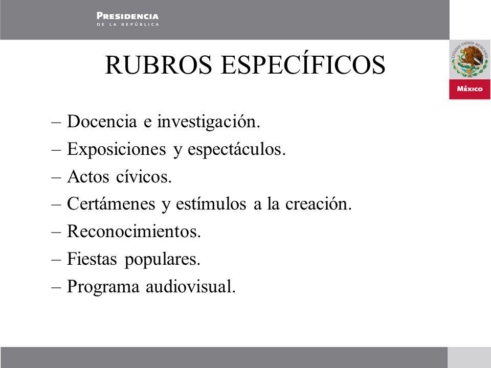 RUBROS ESPECÍFICOS –Docencia e investigación. –Exposiciones y espectáculos.