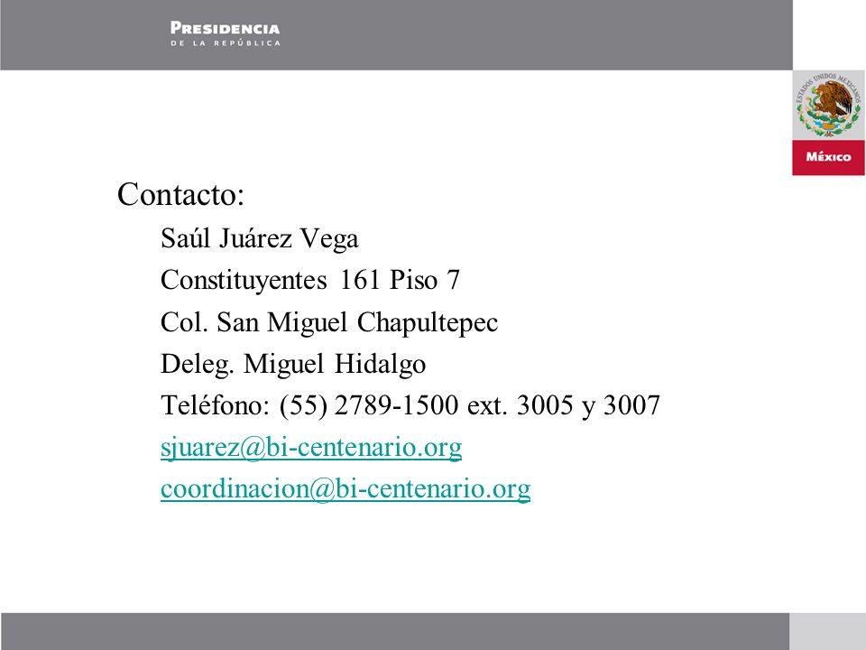 Contacto: Saúl Juárez Vega Constituyentes 161 Piso 7 Col.
