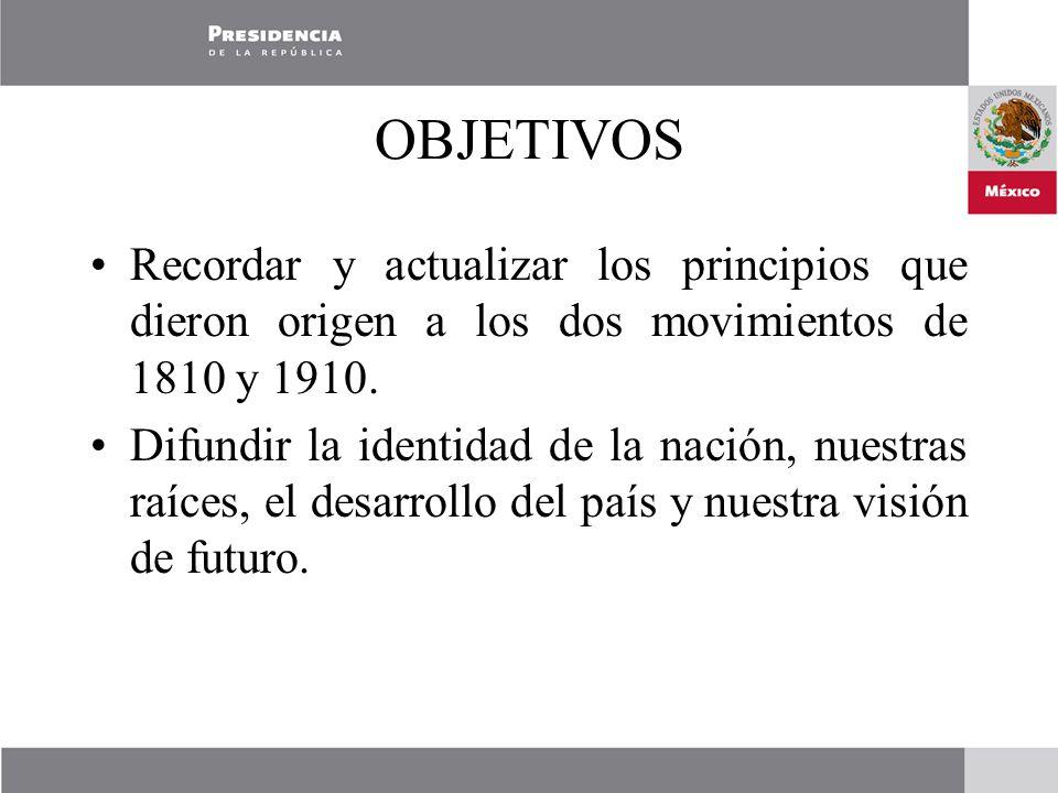 OBJETIVOS Recordar y actualizar los principios que dieron origen a los dos movimientos de 1810 y 1910.