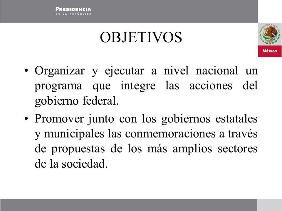 OBJETIVOS Organizar y ejecutar a nivel nacional un programa que integre las acciones del gobierno federal.
