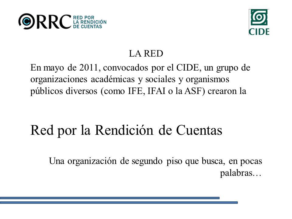 LA RED En mayo de 2011, convocados por el CIDE, un grupo de organizaciones académicas y sociales y organismos públicos diversos (como IFE, IFAI o la ASF) crearon la Red por la Rendición de Cuentas Una organización de segundo piso que busca, en pocas palabras…