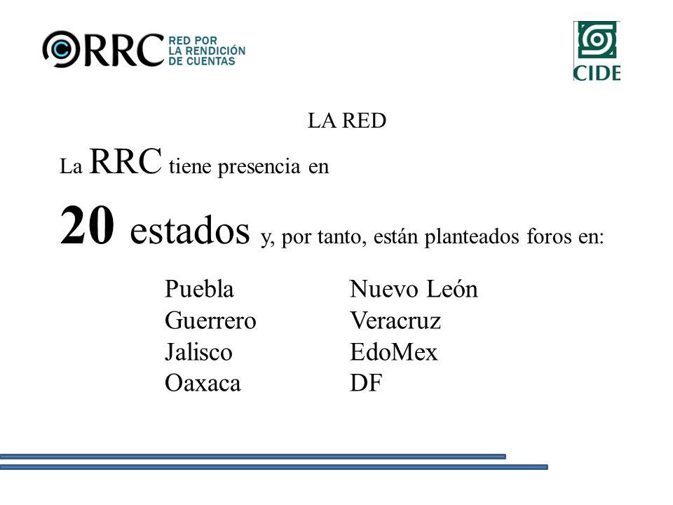 LA RED La RRC tiene presencia en 20 estados y, por tanto, están planteados foros en: Puebla Guerrero Jalisco Oaxaca Nuevo León Veracruz EdoMex DF