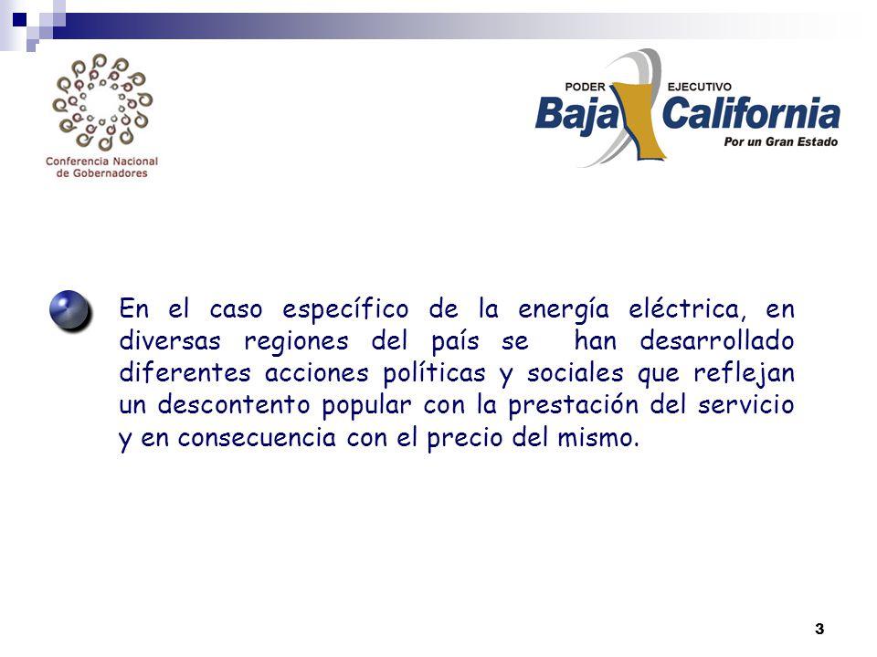 3 En el caso específico de la energía eléctrica, en diversas regiones del país se han desarrollado diferentes acciones políticas y sociales que reflejan un descontento popular con la prestación del servicio y en consecuencia con el precio del mismo.