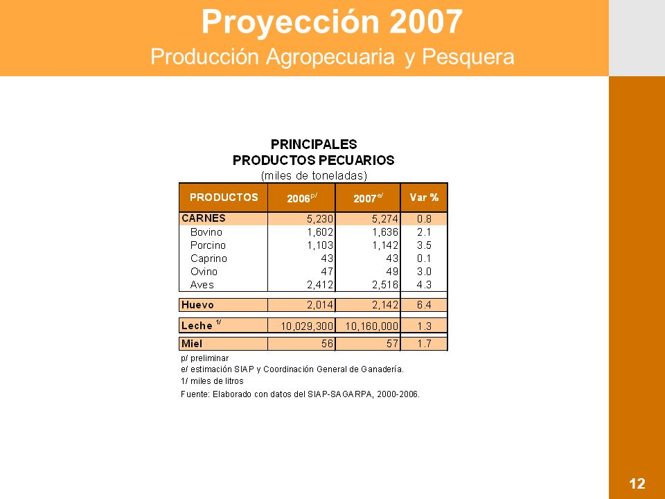 Proyección 2007 Producción Agropecuaria y Pesquera 12