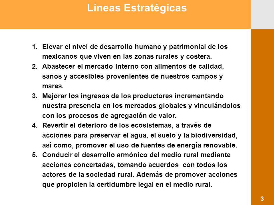 1.Elevar el nivel de desarrollo humano y patrimonial de los mexicanos que viven en las zonas rurales y costera. 2.Abastecer el mercado interno con ali