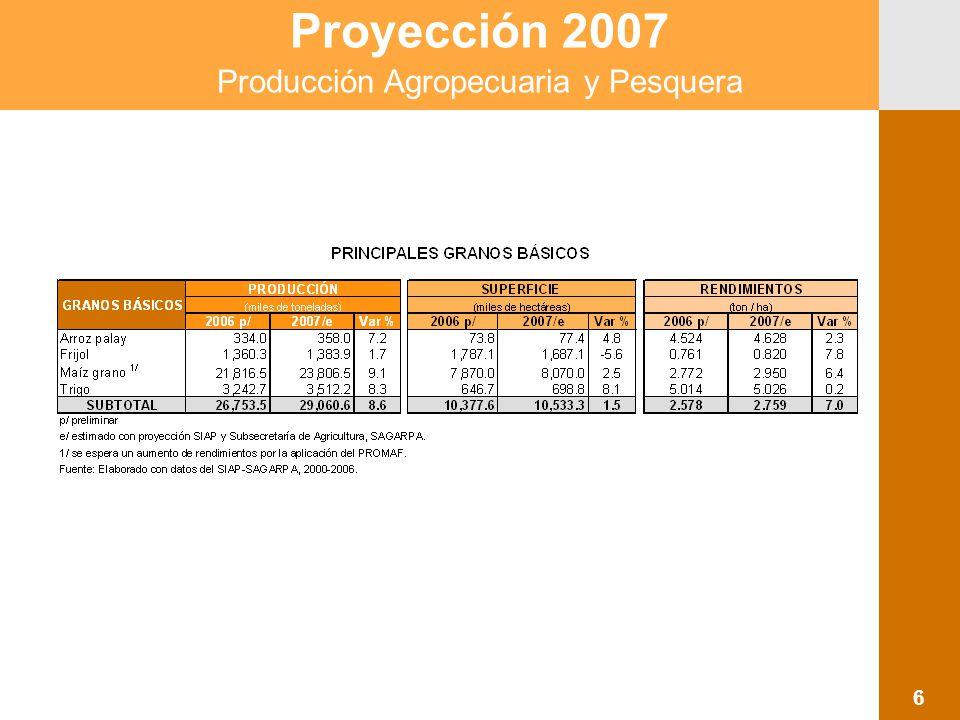 Proyección 2007 Producción Agropecuaria y Pesquera 6