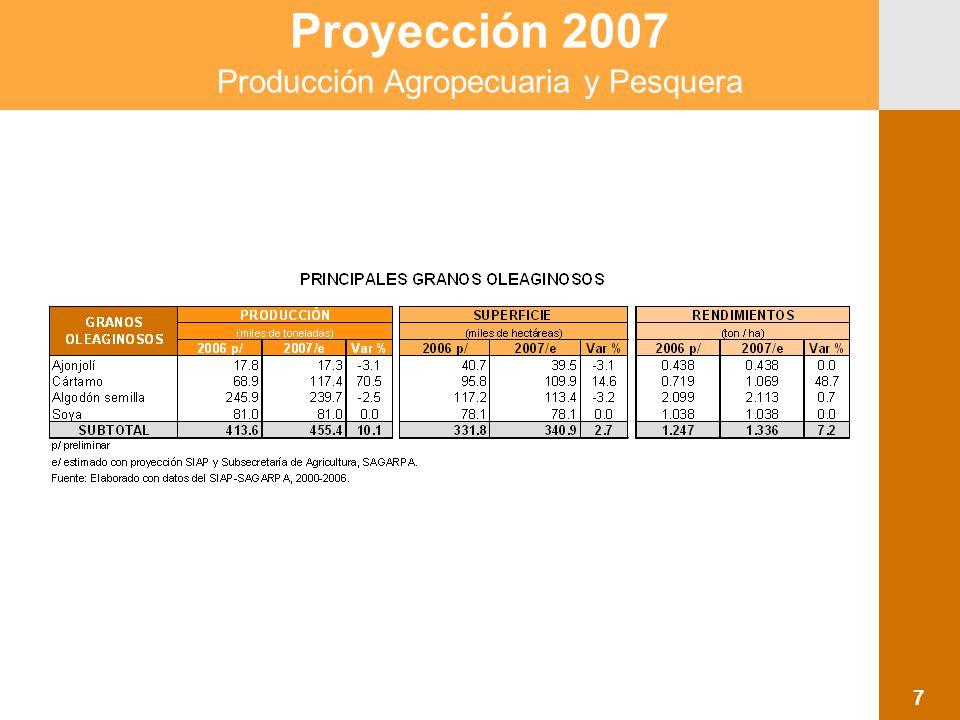 Proyección 2007 Producción Agropecuaria y Pesquera 8