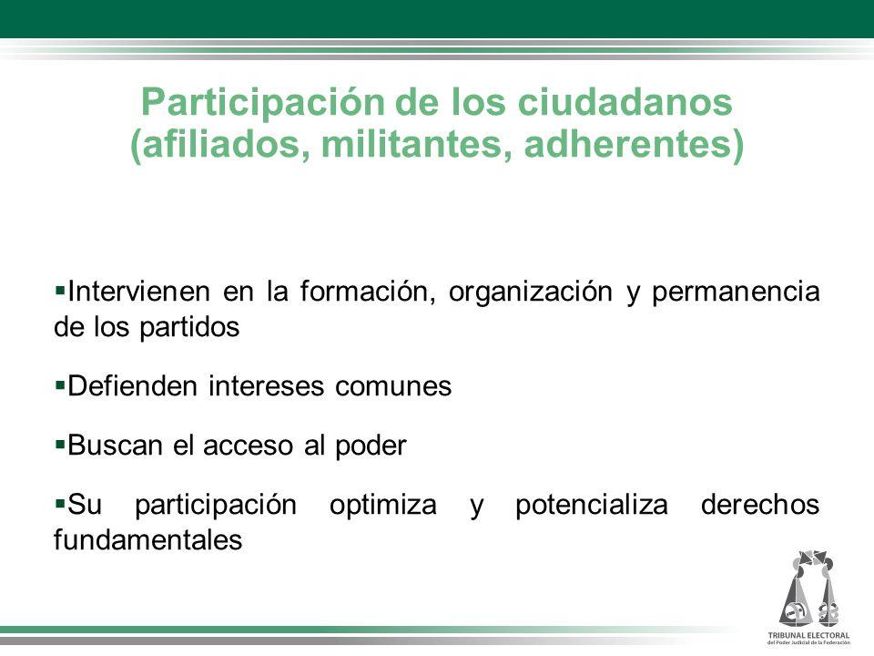 Participación de los ciudadanos (afiliados, militantes, adherentes) Intervienen en la formación, organización y permanencia de los partidos Defienden intereses comunes Buscan el acceso al poder Su participación optimiza y potencializa derechos fundamentales