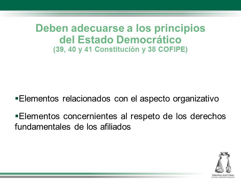 Deben adecuarse a los principios del Estado Democrático (39, 40 y 41 Constitución y 38 COFIPE) Elementos relacionados con el aspecto organizativo Elementos concernientes al respeto de los derechos fundamentales de los afiliados