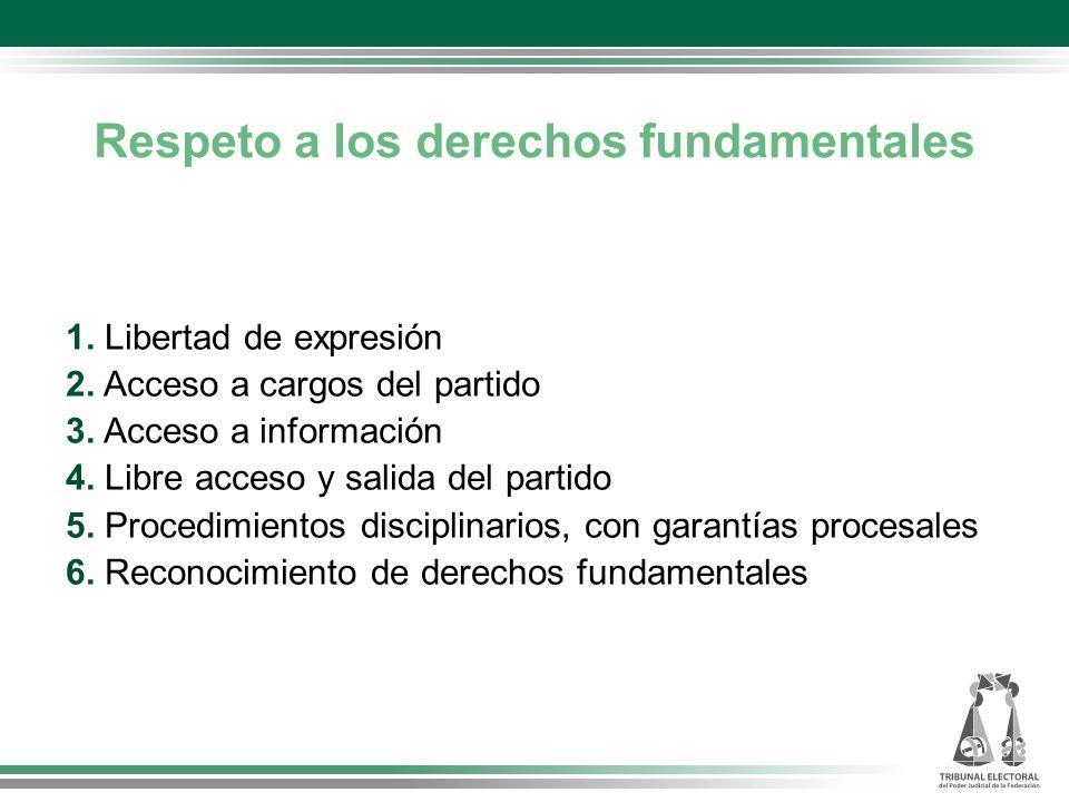 Respeto a los derechos fundamentales 1.Libertad de expresión 2.