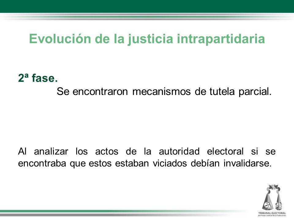 Evolución de la justicia intrapartidaria 2ª fase.Se encontraron mecanismos de tutela parcial.