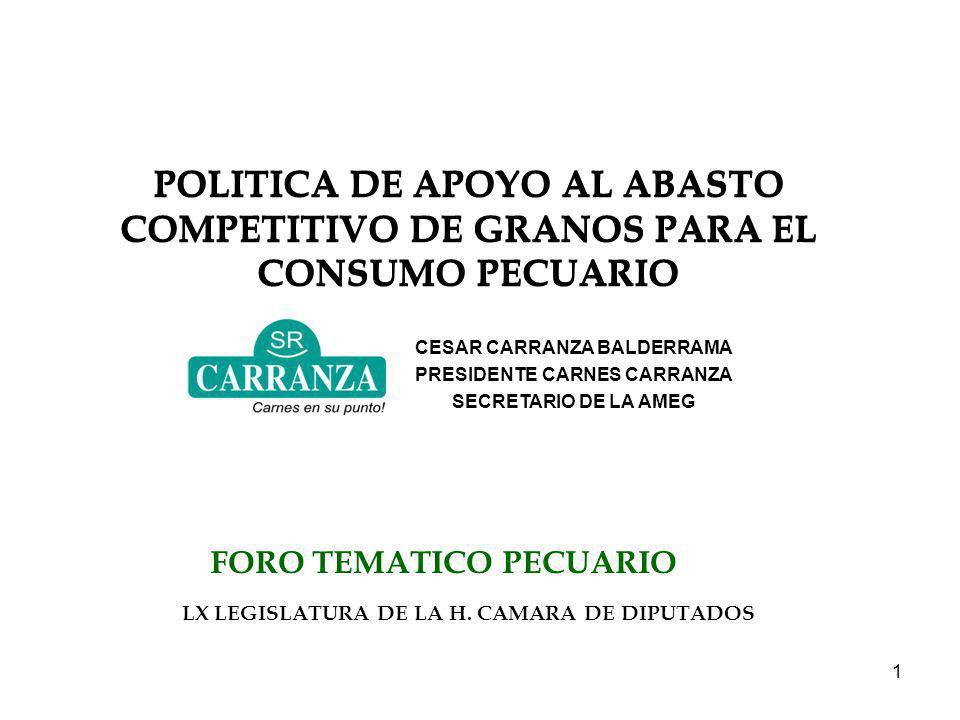 1 FORO TEMATICO PECUARIO LX LEGISLATURA DE LA H. CAMARA DE DIPUTADOS POLITICA DE APOYO AL ABASTO COMPETITIVO DE GRANOS PARA EL CONSUMO PECUARIO CESAR