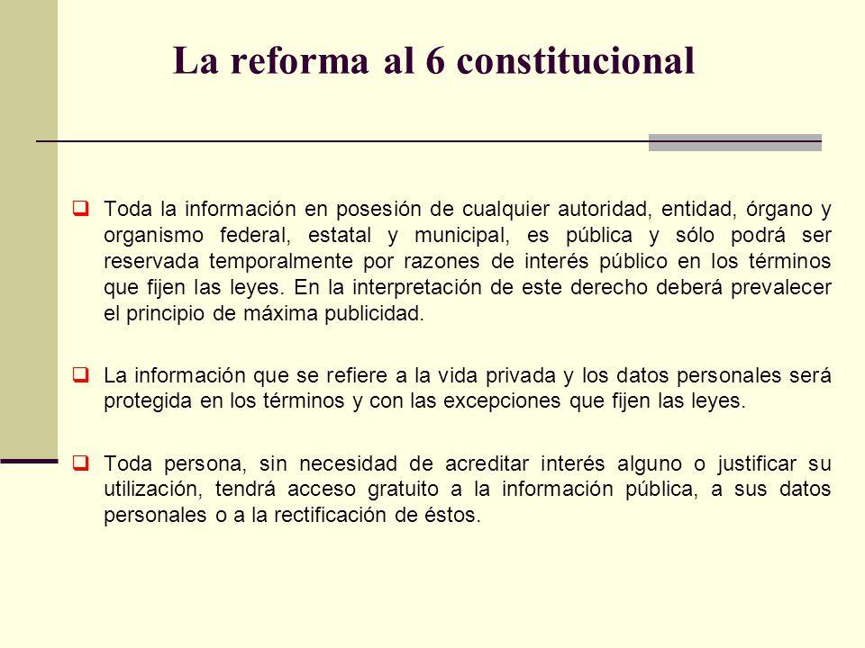 Toda la información en posesión de cualquier autoridad, entidad, órgano y organismo federal, estatal y municipal, es pública y sólo podrá ser reservad