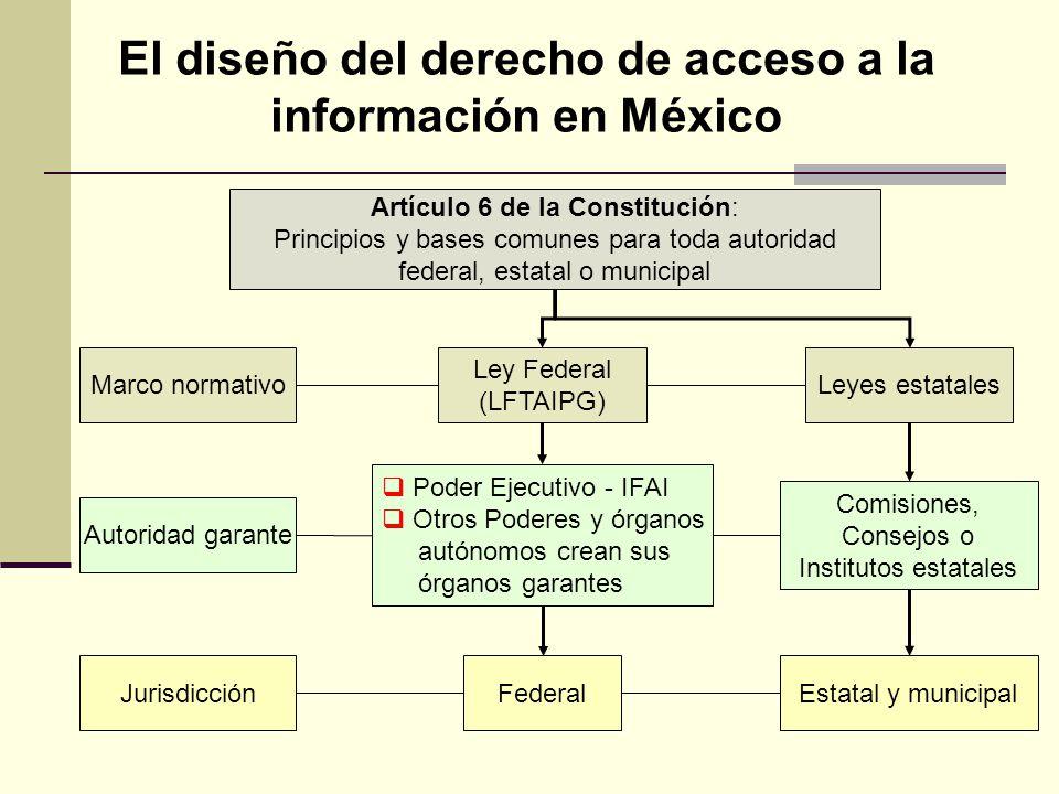 El diseño del derecho de acceso a la información en México Artículo 6 de la Constitución: Principios y bases comunes para toda autoridad federal, esta