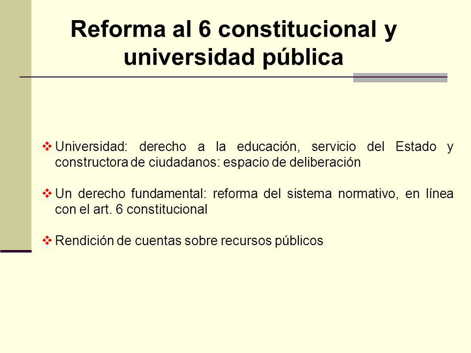 Reforma al 6 constitucional y universidad pública Universidad: derecho a la educación, servicio del Estado y constructora de ciudadanos: espacio de de