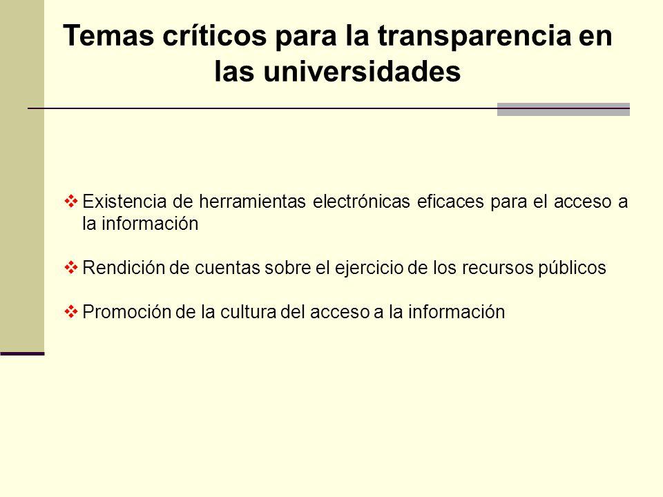 Existencia de herramientas electrónicas eficaces para el acceso a la información Rendición de cuentas sobre el ejercicio de los recursos públicos Prom