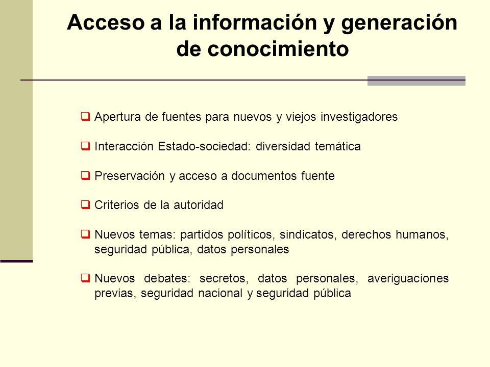 Acceso a la información y generación de conocimiento Apertura de fuentes para nuevos y viejos investigadores Interacción Estado-sociedad: diversidad t