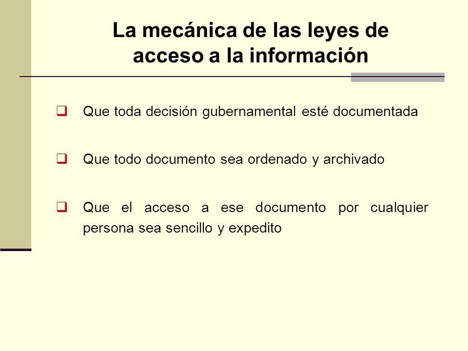 La mecánica de las leyes de acceso a la información Que toda decisión gubernamental esté documentada Que todo documento sea ordenado y archivado Que e