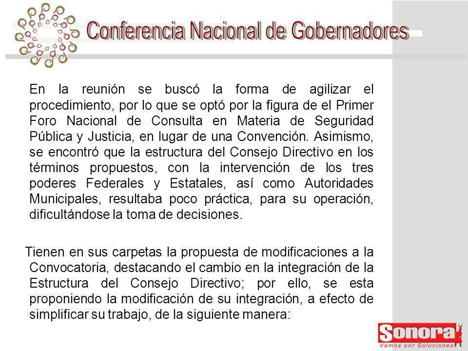 En la reunión se buscó la forma de agilizar el procedimiento, por lo que se optó por la figura de el Primer Foro Nacional de Consulta en Materia de Seguridad Pública y Justicia, en lugar de una Convención.