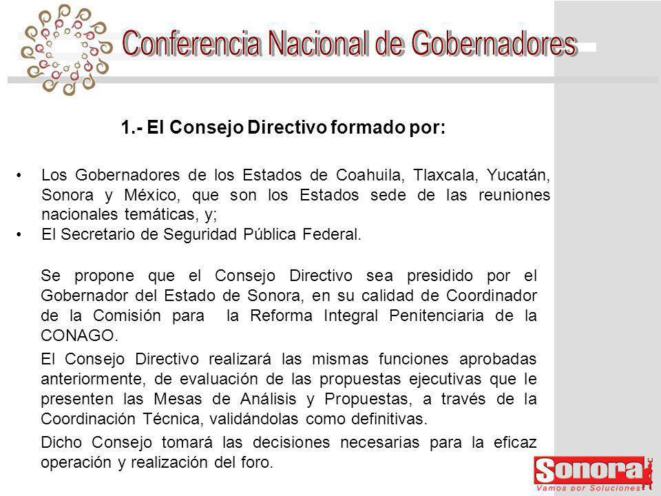 2.- Se propone modificar la Coordinación Técnica, para que sea integrada por un funcionario designado por cada uno de los miembros del Consejo Directivo.