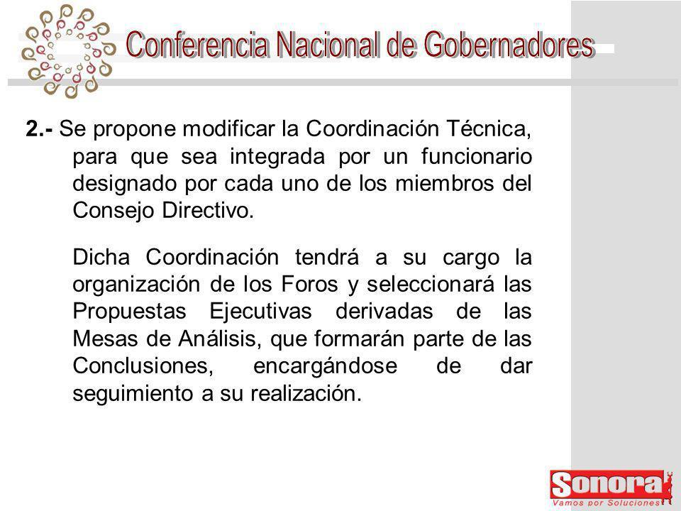 3.- La Dirección Ejecutiva seguirá a cargo de la Secretaría Técnica de la CONAGO en lo relativo a la logística.