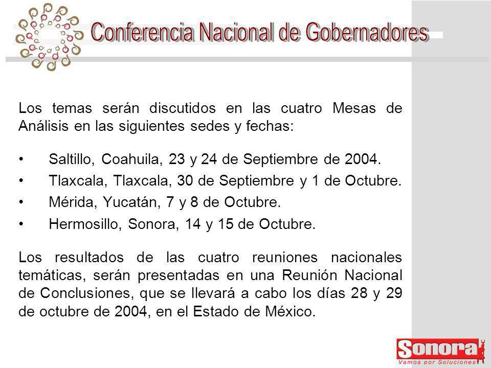 Los temas serán discutidos en las cuatro Mesas de Análisis en las siguientes sedes y fechas: Saltillo, Coahuila, 23 y 24 de Septiembre de 2004.