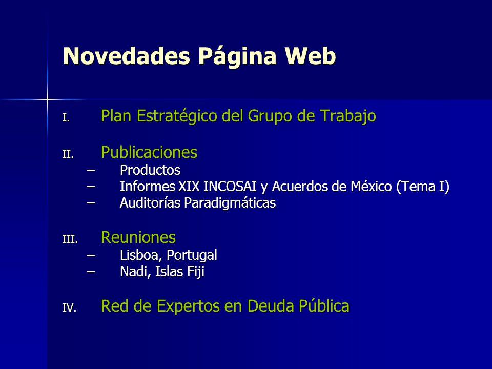 Novedades Página Web I. Plan Estratégico del Grupo de Trabajo II. Publicaciones –Productos –Informes XIX INCOSAI y Acuerdos de México (Tema I) –Audito