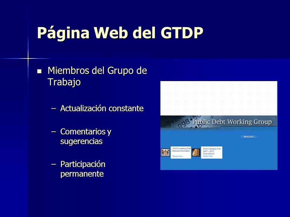 Página Web del GTDP Miembros del Grupo de Trabajo Miembros del Grupo de Trabajo –Actualización constante –Comentarios y sugerencias –Participación per